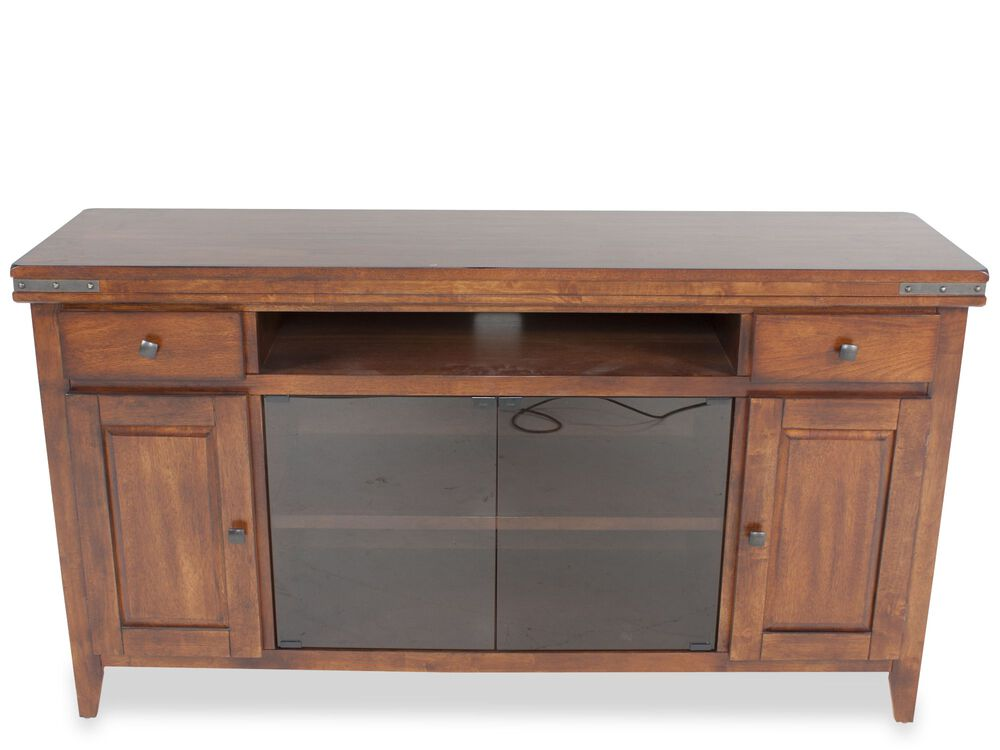 Two Open Compartment Transitional Media Base in Medium Brown