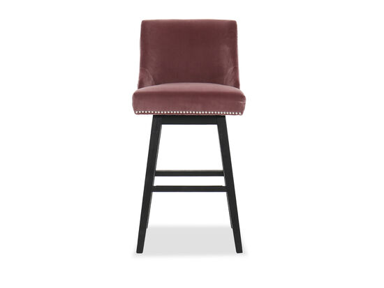 "Contemporary 30"" Nailhead-Accented Barstool in Pink"