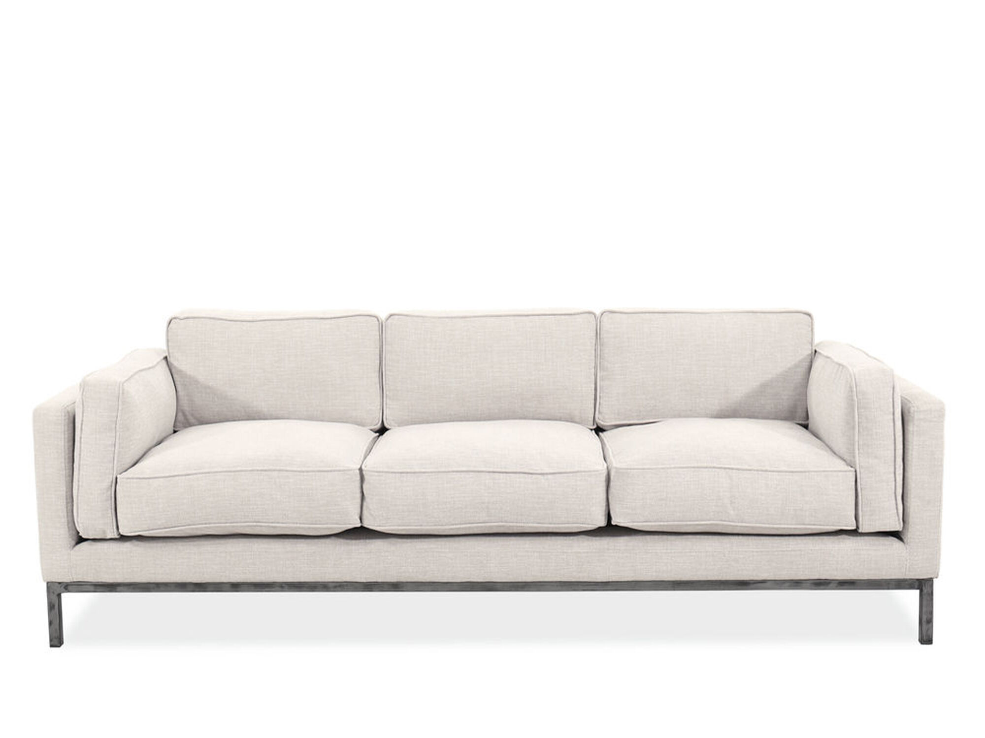 89u0026quot; Contemporary Low Profile Sofa In Beige ...
