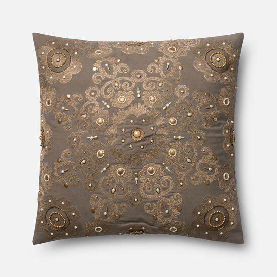 "Contemporary 22""x22"" Cover w/Poly Pillow in Grey/Gold"