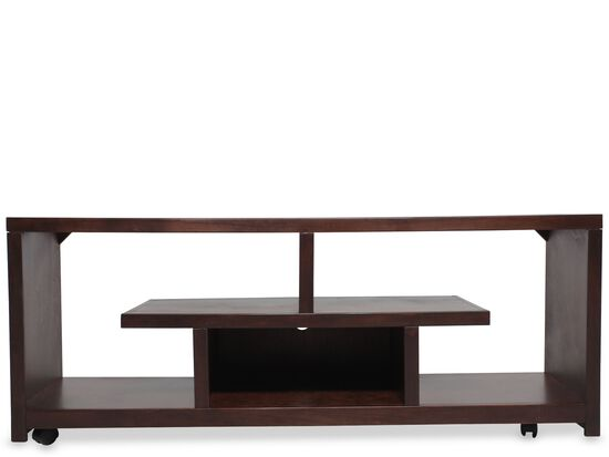 Castered Casual TV Console in Matte Cherry
