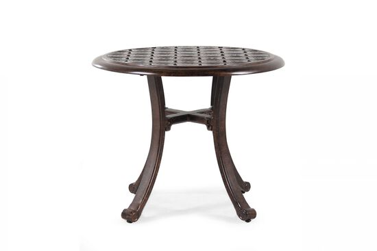 Lattice Designed Contemporary Round End Table in Medium Brown