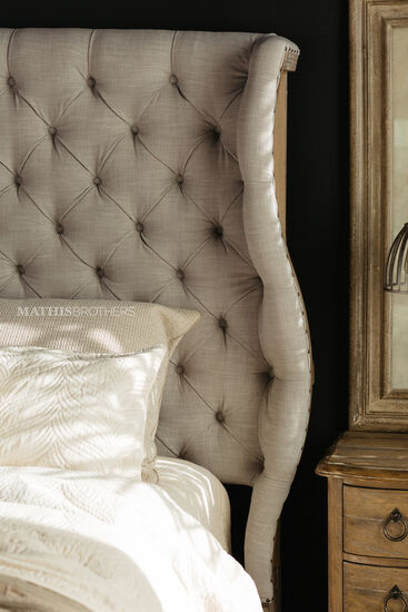 """72.5"""" Traditional Button Tufted Bed in Gray"""