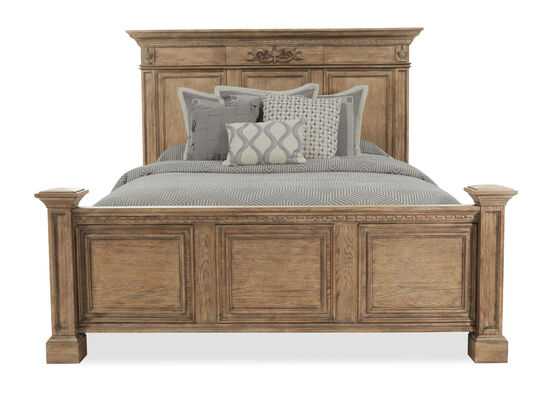 "70"" Traditional Queen Panel Bed with USB Port in Light Aged Oak"