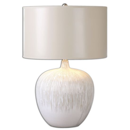 Textured Plum Jar Lamp in Aged Ivory
