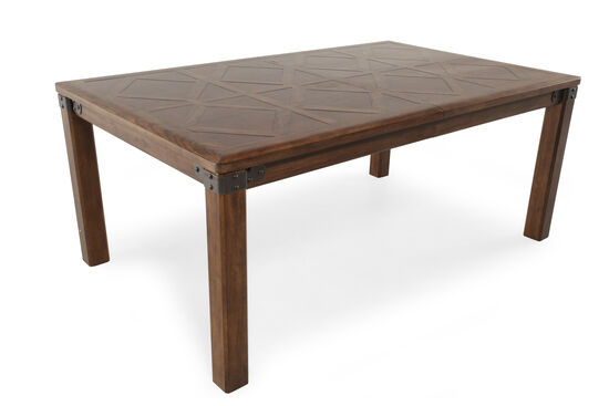 "Traditional 40"" Diamond-Inserted Leg Table in Medium Brown"