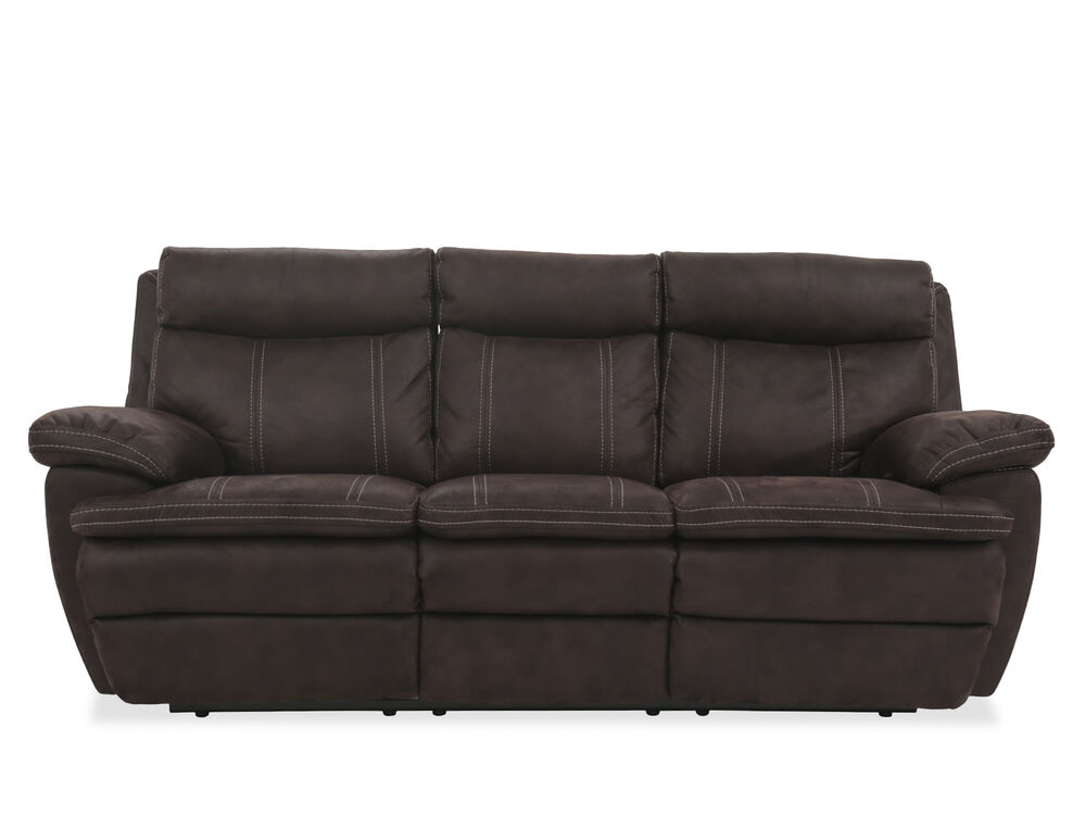 Images Reclining Microfiber 86 Sofa In Brown