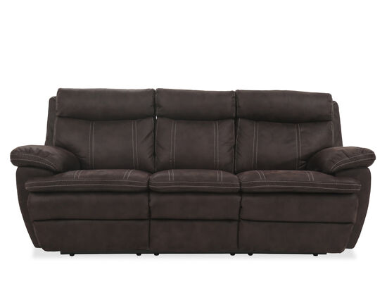 "Power Reclining Microfiber 86"" Sofa in Brown"
