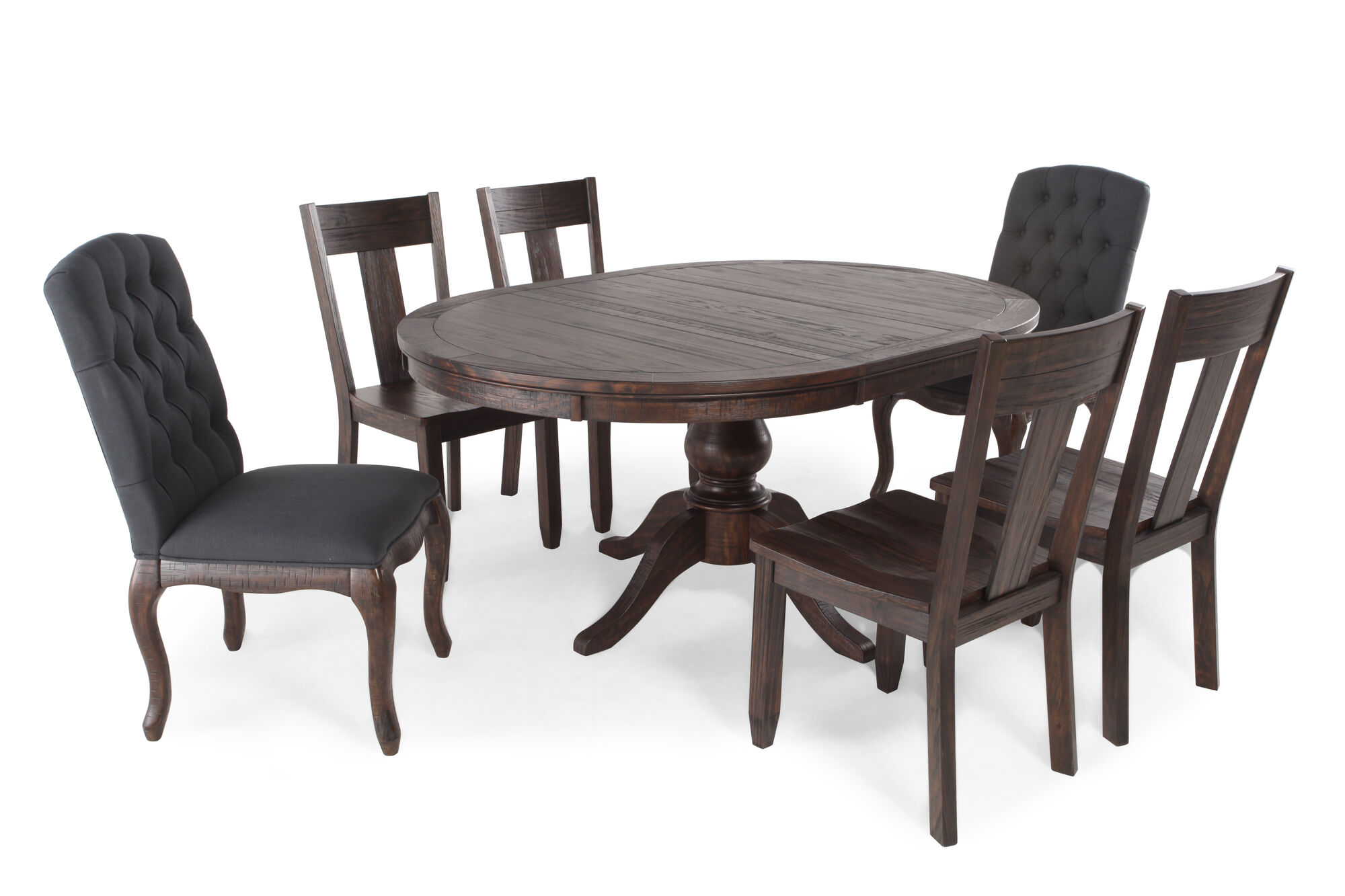 Seven piece button tufted traditional 48 to 66 dining set in dark pine mathis brothers furniture
