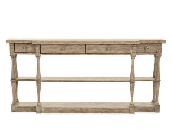 Four-Drawer Traditional Console in Light Gray