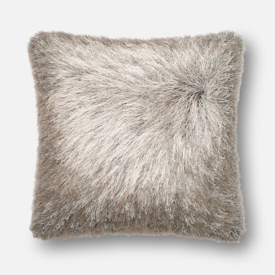 """Contemporary 22""""x22"""" Cover w/Poly Pillow in Silver"""