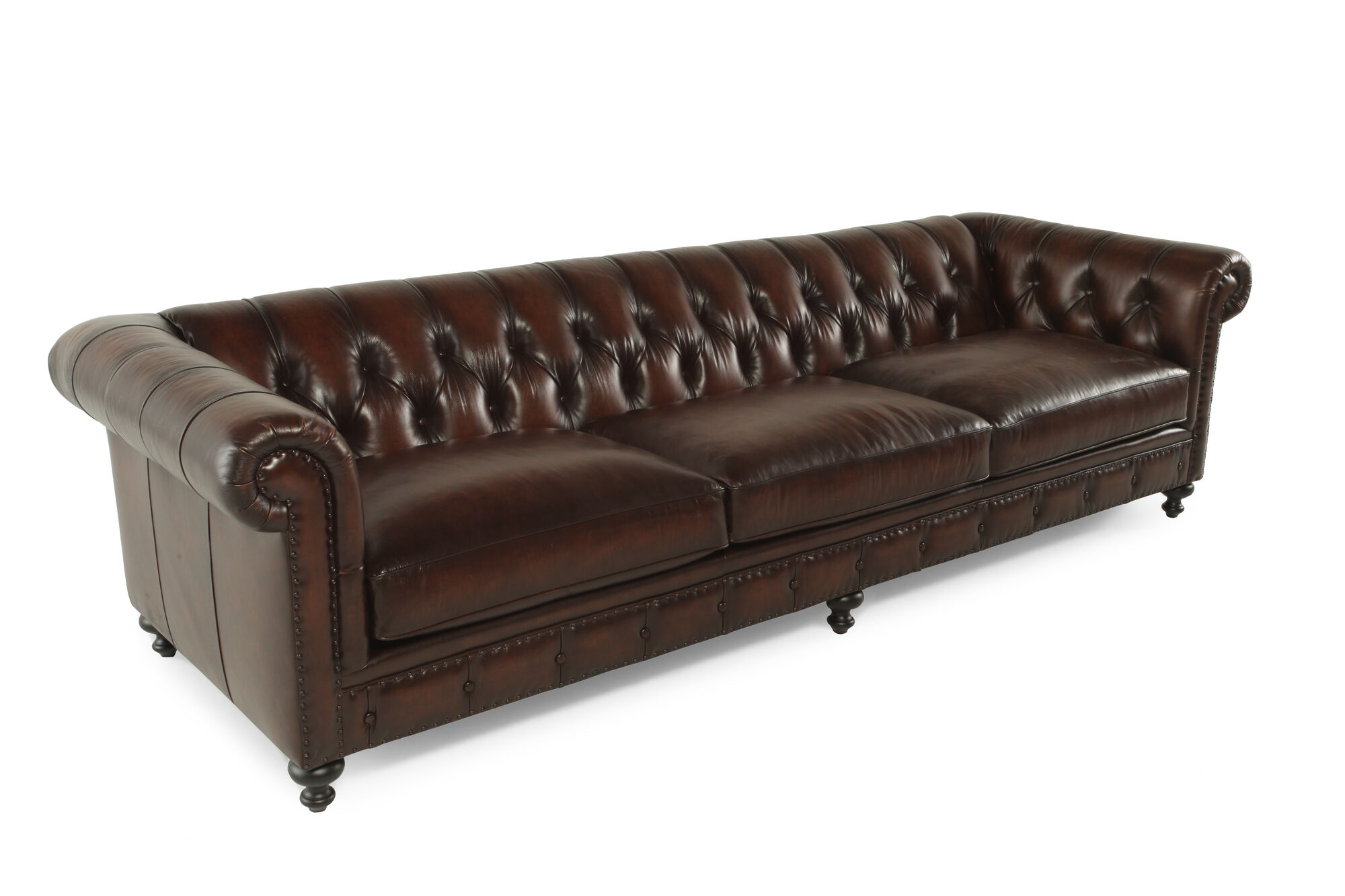 Button Tufted Leather 116 5 Sofa In Molasses Mathis Brothers