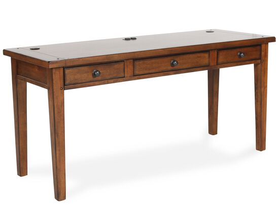 "64"" Three-Drawer Country Writing Desk in Saddle Brown"