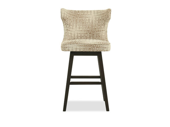 "Abstract Patterned 43"" Wingback Bar Stool in Cream"
