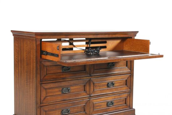 "38"" Traditional Three-Drawer Entertainment Chest in Oak"