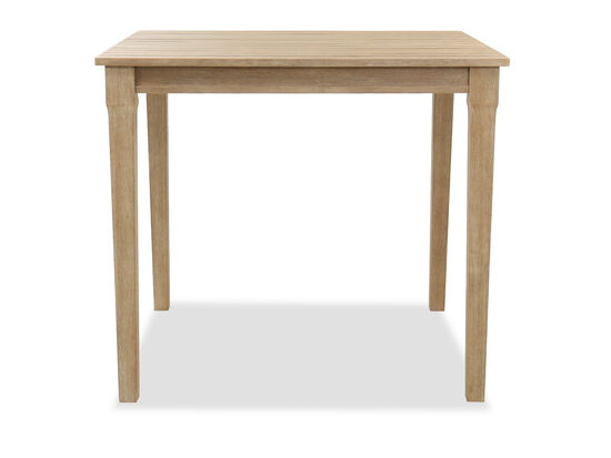 Traditional Slat Top Patio Bar Table in Fawn