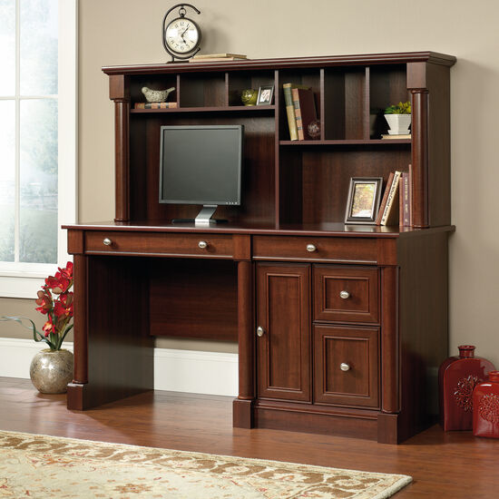 """59.5"""" Contemporary Computer Desk with Hutch in Select Cherry"""