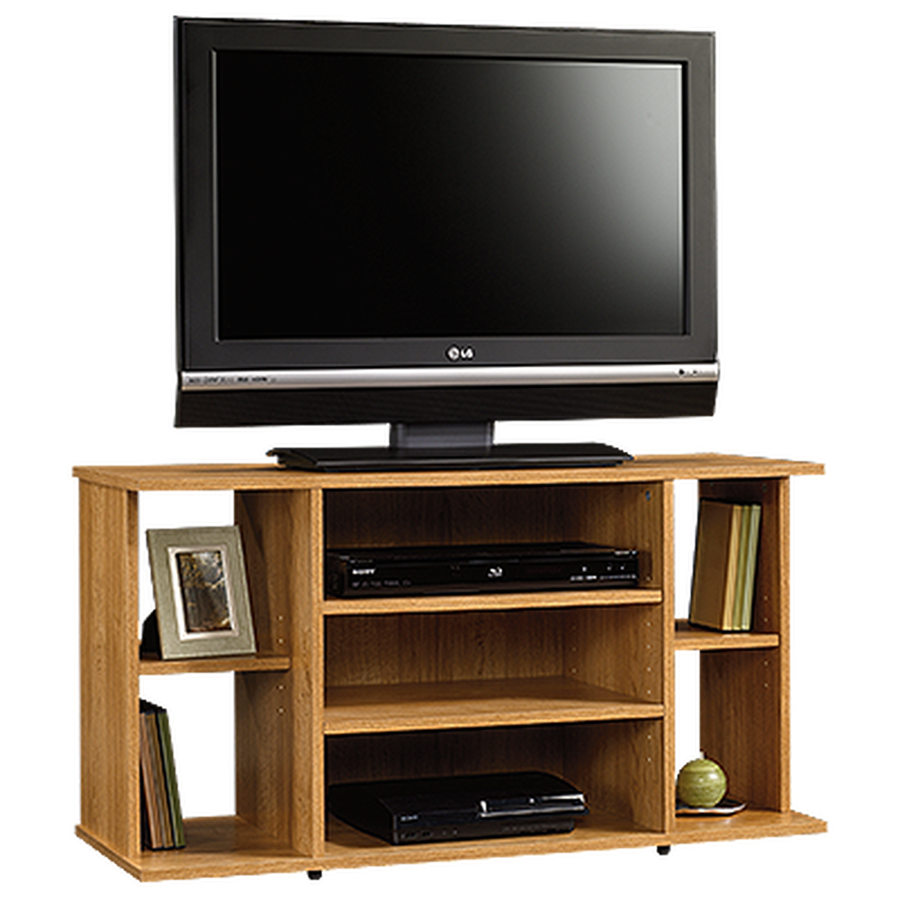 Four Shelf Casual Tv Stand In Medium Oak Mathis Brothers