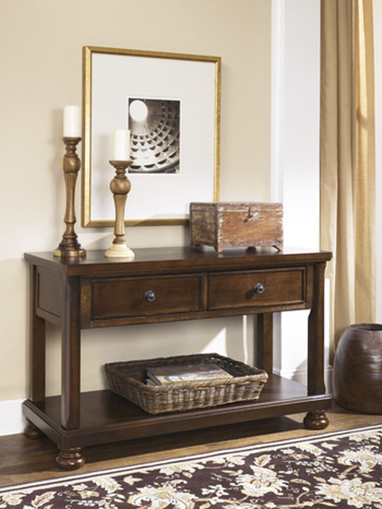 twodrawer casual console sofa table in burnished brown