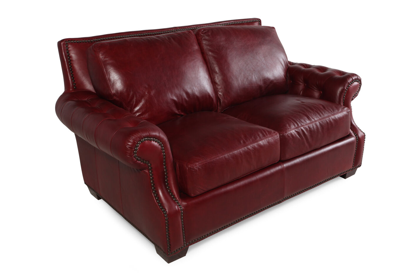 Traditional leather 71 loveseat in marsala red mathis for Traditional loveseat