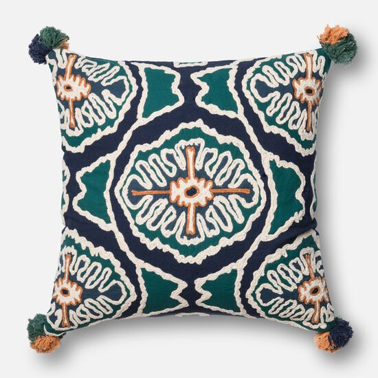 """Contemporary 22""""x22"""" Cover w/down pillow in Blue/Teal"""