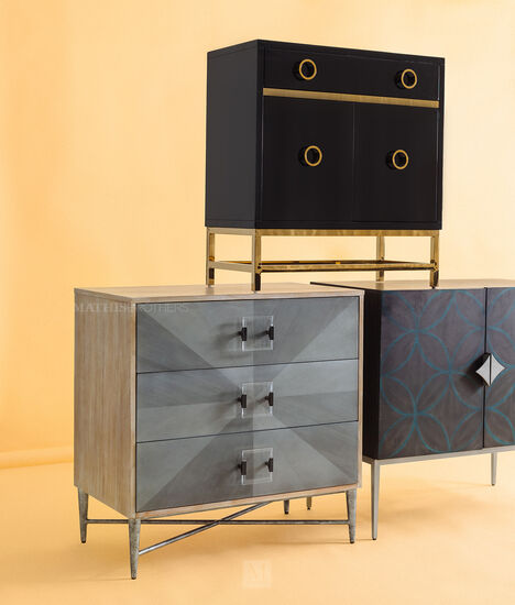 Two-Door Transitional Credenza in Light Black