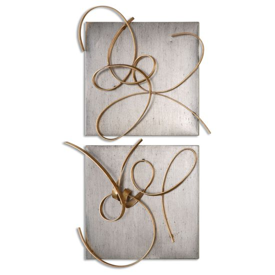 Two-Piece Hand-Forged Abstract Wall Art in Gold Leaf