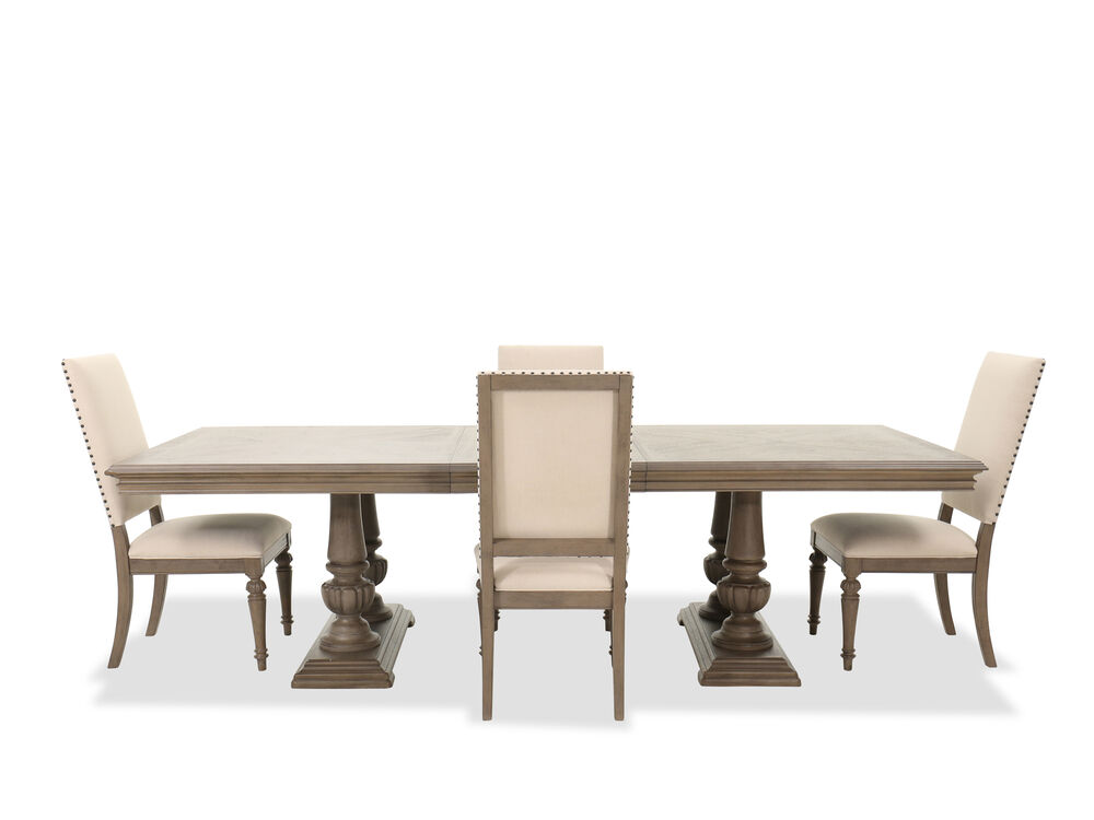 Five-Piece Traditional Double Pedestal Dining Set in Cobblestone