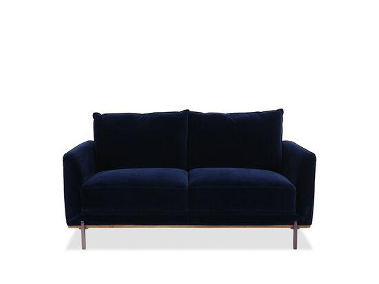 Casual Velvet Loveseat in Blue