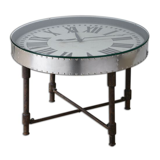 Riveted Clock Table in Rusted Black