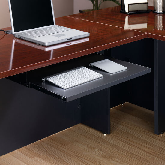 """25.5"""" Contemporary Slide-Out Keyboard/Mouse Shelf in Soft Black"""