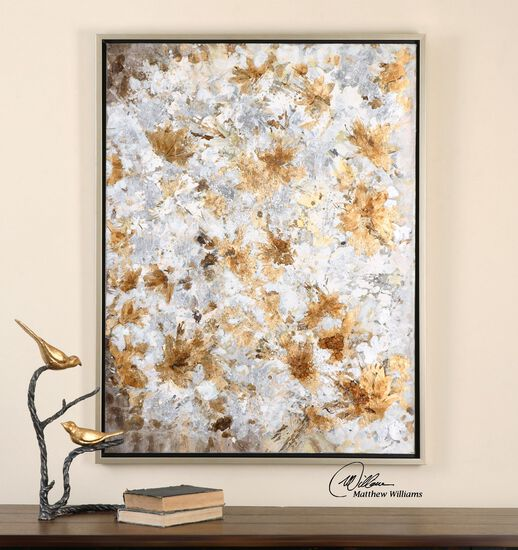 Hand Painted Abstract Canvas Wall Art in Gold/Brown/Silver/Gray