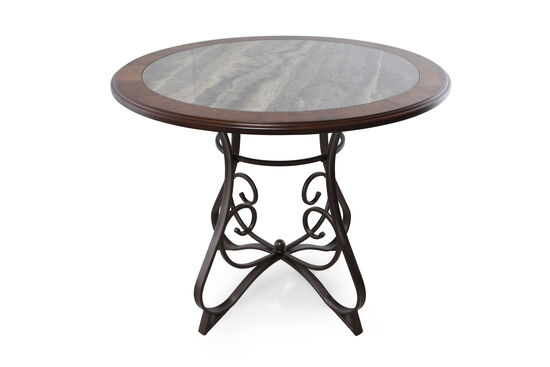 "Traditional 45"" Round Counter Table in Aged Bronze"