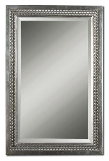 "35"" Triple Beaded Vanity Mirror in Silver Leaf"