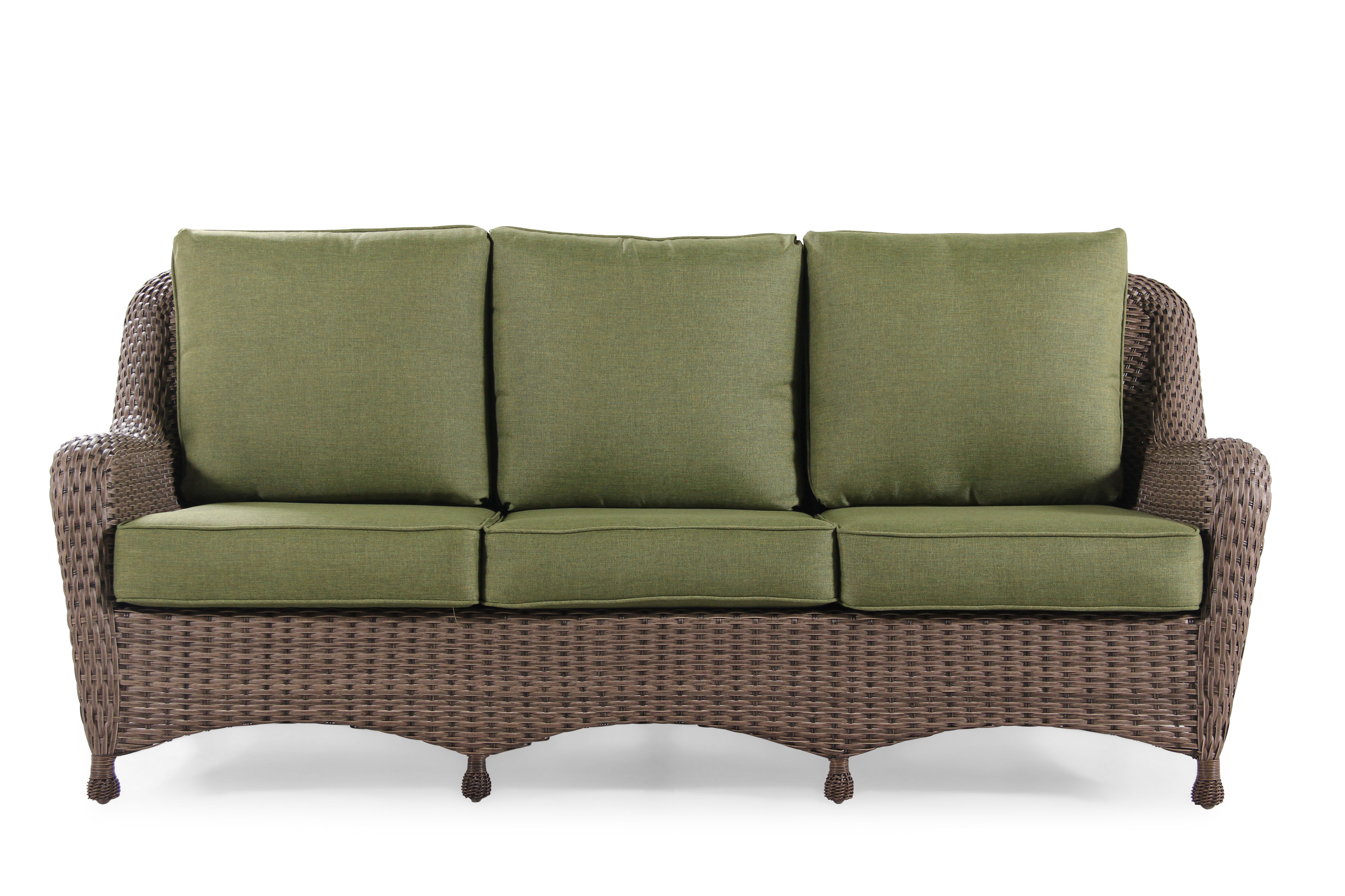 Images Water Resistant Aluminum Sofa In Olive