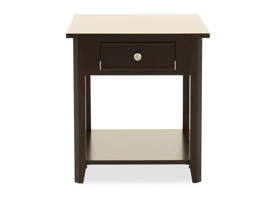 Square One-Drawer End Table in Dark Espresso