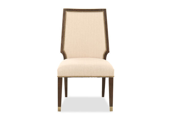 Nailhead-Trimmed 39'' Side Chair in Light Brown