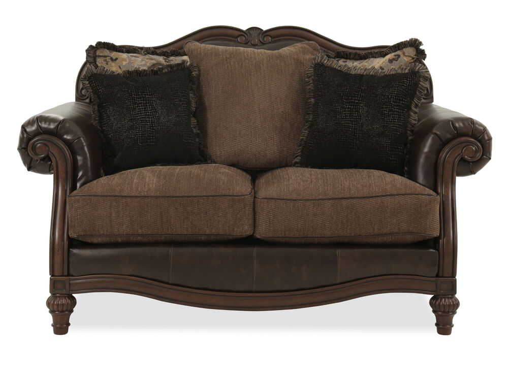 """Camelback Traditional 68"""" Loveseat in Brown"""
