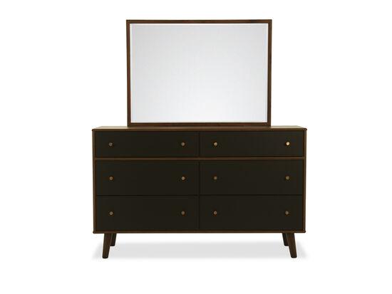 Two-Piece Modern Dresser & Mirror in Brown