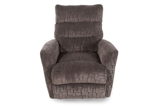 """Contemporary Geometric-Patterned 36"""" Rocker Recliner in Brown"""
