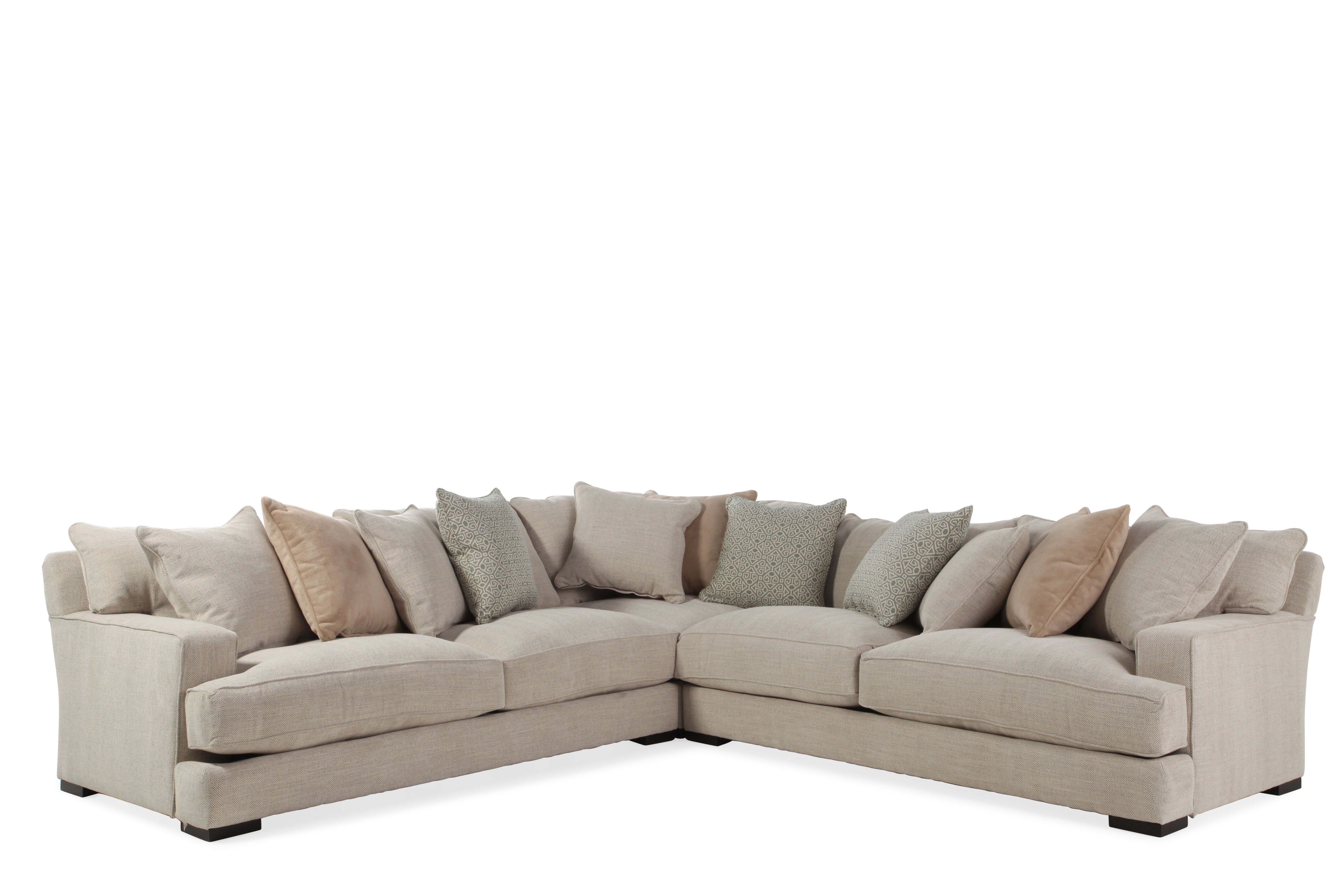 Three Piece Contemporary 126u0026quot; Sectional In Tan