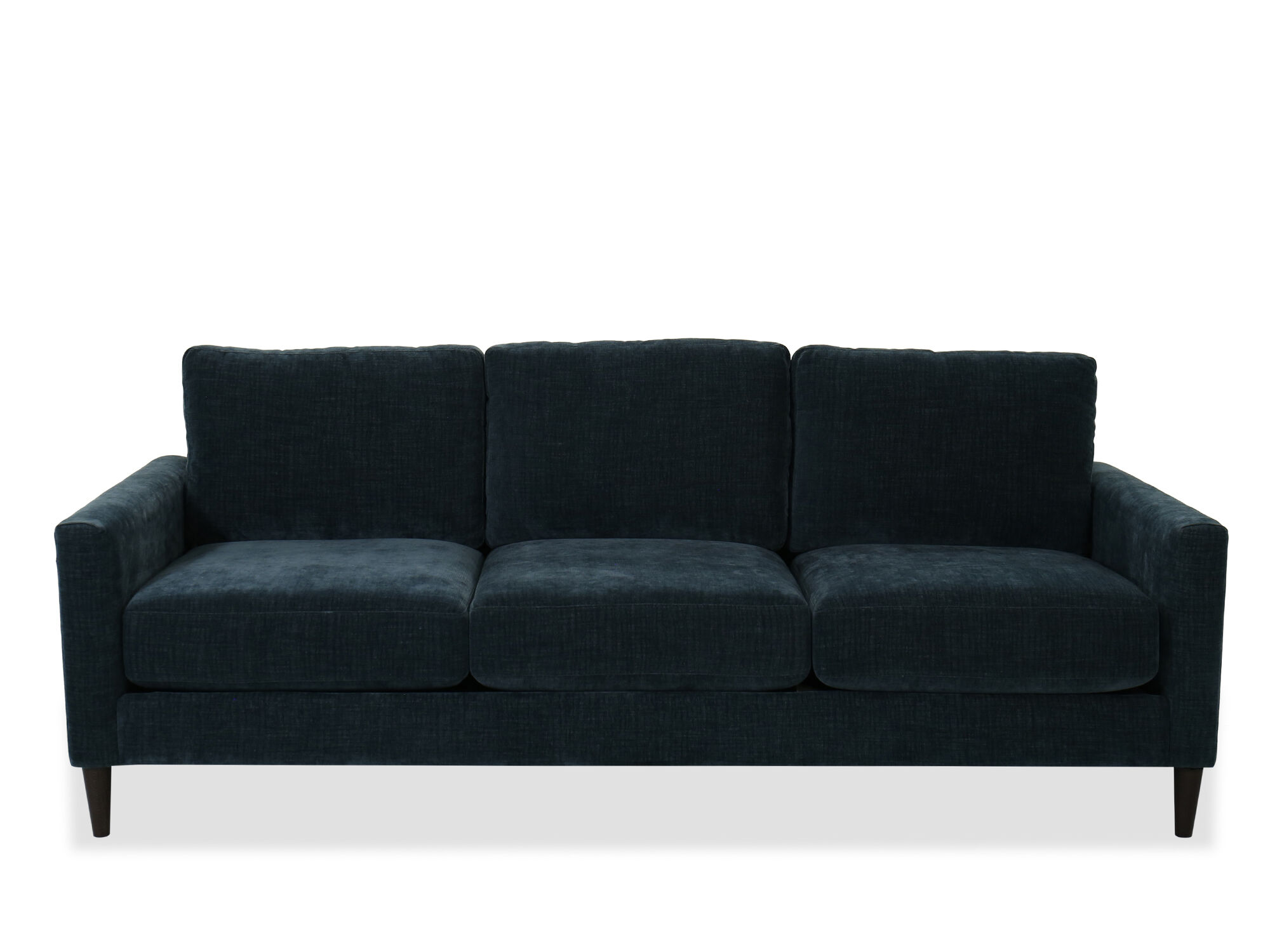 Contemporary Straight Arm Sofa In Blue Mathis Brothers Furniture