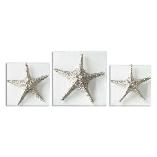 Three-Piece Starfish Glass Plaque in Metallic Silver