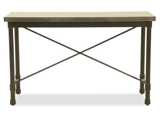 Rectangular Modern Sofa Table in Metallic Gray