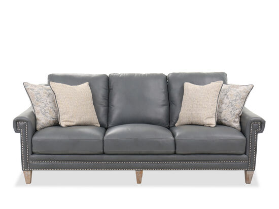 Nailhead-Trimmed Contemporary 91'' Sofa in Gray