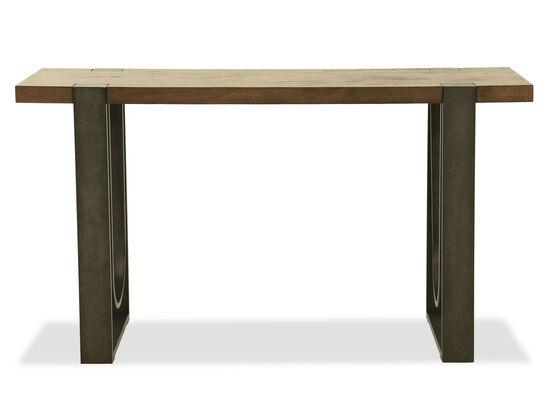 Contemporary Rectangular Sofa Table in Rustic Honey