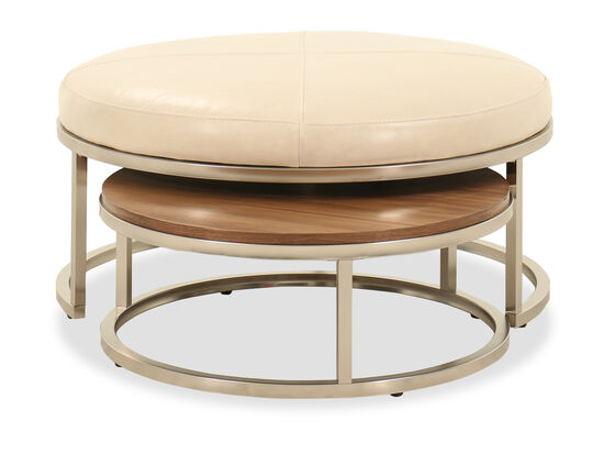 Two-Piece Contemporary Nesting Ottomans in Ivory
