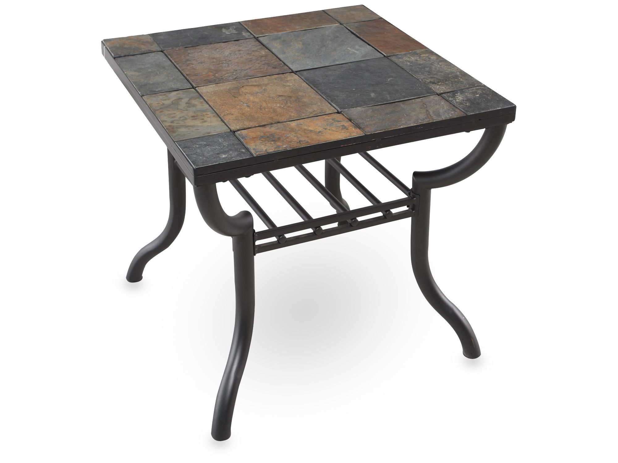 Square Slate Tiled Contemporary End Tableu0026nbsp;in Gunmetal