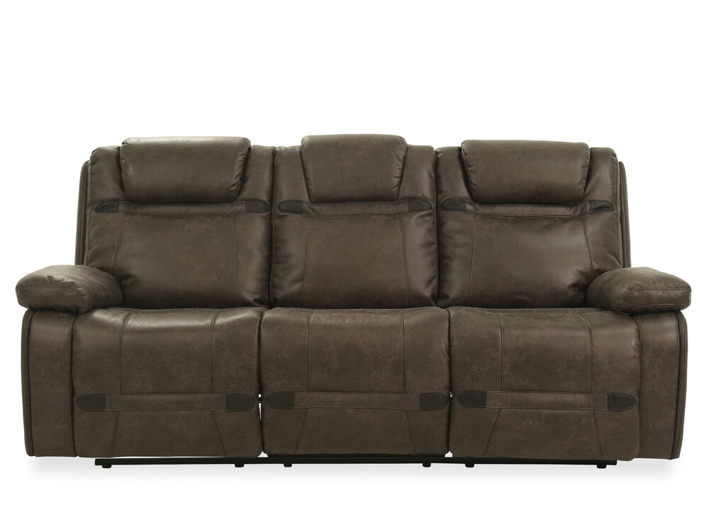 87 5 leather power reclining sofa in grey mathis brothers furniture. Black Bedroom Furniture Sets. Home Design Ideas