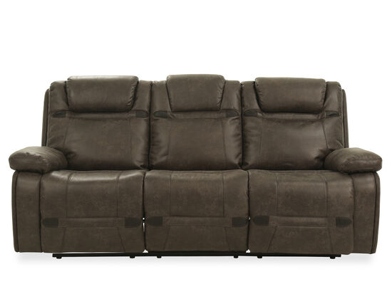 "87.5"" Leather Power Reclining Sofa in Grey"